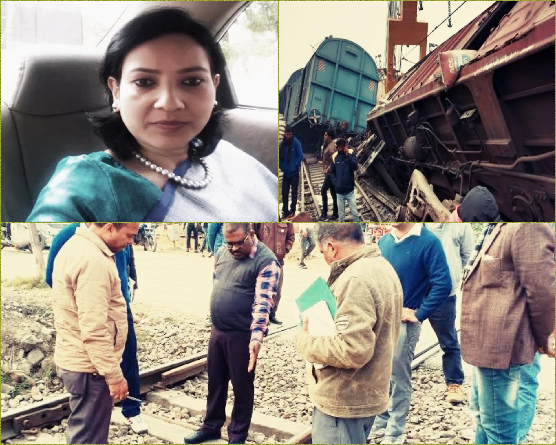बस्ती: डीआरएम द्वारा मालगाड़ी दुर्घटना स्थल का किया गया निरीक्षण