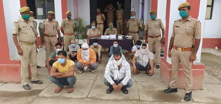 थाना मुण्डेरवा जनपद बस्ती पुलिस द्वारा जुआ खेल रहे 10 अभियुक्तो को किया गया गिरफ्तार,अभियुक्तो के पास से 50700 रु बरामद